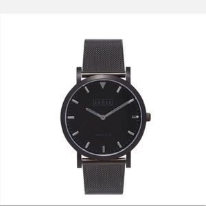Shore Project Unisex Falmouth black SS mesh watch